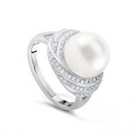 Кольцо с жемчугом и бриллиантами из белого золота VALTERA 22193