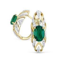 Серьги с изумрудами и бриллиантами из желтого золота VALTERA 82378