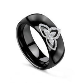 Кольцо с керамикой и бриллиантами из белого золота VALTERA 83336