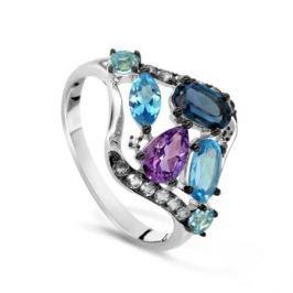 Кольцо с полудрагоценными камнями из белого золота VALTERA 55032