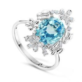Кольцо с бриллиантами и топазами из белого золота VALTERA 58073