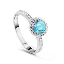 Кольцо с бриллиантами и топазами из белого золота VALTERA 53834