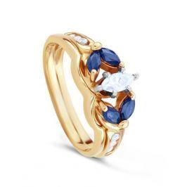 Кольцо с сапфирами и бриллиантами из розового золота 00535