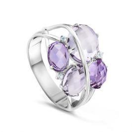 Кольцо с полудрагоценными камнями из белого золота VALTERA 55867