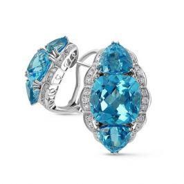 Серьги с топазами и бриллиантами из белого золота VALTERA 52605