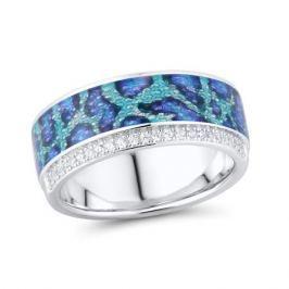 Кольцо с фианитами и эмалью из серебра VALTERA 92495