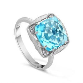 Кольцо с бриллиантами и топазами из белого золота VALTERA 53208