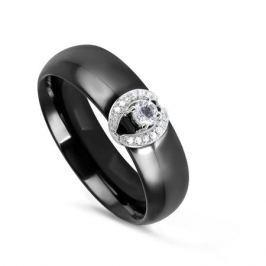Кольцо с керамикой и бриллиантами из белого золота VALTERA 78079