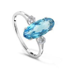 Кольцо с бриллиантами и топазами из белого золота VALTERA 50354