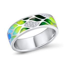 Кольцо с фианитами и эмалью из серебра VALTERA 92469