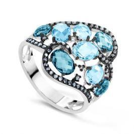 Кольцо с бриллиантами и топазами из белого золота VALTERA 63657