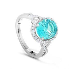 Кольцо с бриллиантами и топазами из белого золота VALTERA 35358