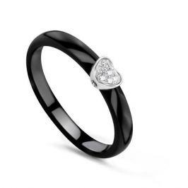 Кольцо с керамикой и бриллиантами из белого золота VALTERA 78077