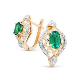 Серьги с изумрудами и бриллиантами из розового золота VALTERA 89968