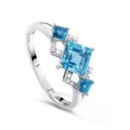 Кольцо с бриллиантами и топазами из белого золота VALTERA 48250