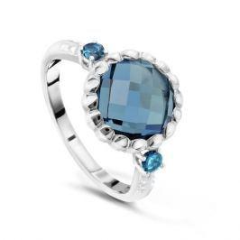Кольцо с бриллиантами и топазами из белого золота VALTERA 48050