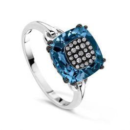 Кольцо с бриллиантами и топазами из белого золота VALTERA 64095