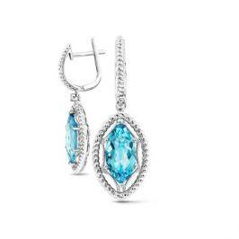 Серьги с топазами и бриллиантами из белого золота VALTERA 53083