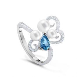 Кольцо с полудрагоценными камнями из белого золота VALTERA 54286