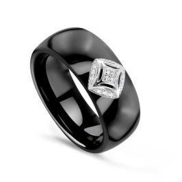 Кольцо с керамикой и бриллиантами из белого золота VALTERA 75830