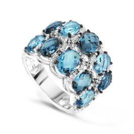 Кольцо с бриллиантами и топазами из белого золота VALTERA 62518