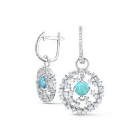 Серьги с топазами и бриллиантами из белого золота VALTERA 47056