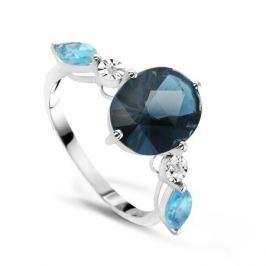 Кольцо с бриллиантами и топазами из белого золота VALTERA 66824