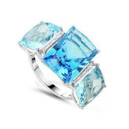 Кольцо с бриллиантами и топазами из белого золота VALTERA 50841