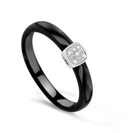 Кольцо с керамикой и бриллиантами из белого золота VALTERA 76234