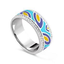 Кольцо с фианитами и эмалью из серебра VALTERA 79440