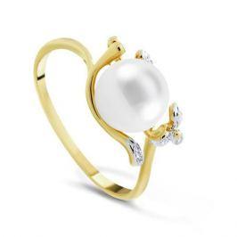 Кольцо с жемчугом и бриллиантами из розового золота VALTERA 77023