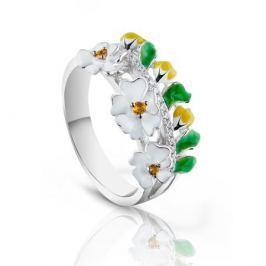 Кольцо с фианитами и эмалью из серебра VALTERA 91741