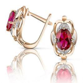 Серьги с рубинами и бриллиантами из розового золота VALTERA 92791