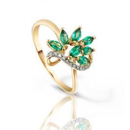 Кольцо с изумрудами и бриллиантами из розового золота VALTERA 94055