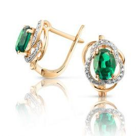 Серьги с изумрудами и бриллиантами из розового золота VALTERA 94049