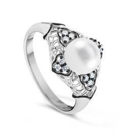 Кольцо с жемчугом и бриллиантами из белого золота VALTERA 65476