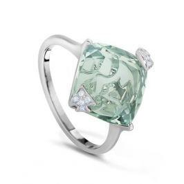 Кольцо с аметистами и бриллиантами из белого золота VALTERA 37680