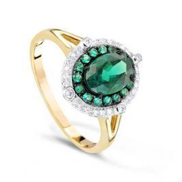 Кольцо с изумрудами и бриллиантами из желтого золота VALTERA 74171
