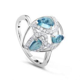 Кольцо с бриллиантами и топазами из белого золота VALTERA 61685