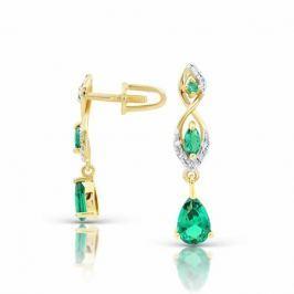 Серьги с изумрудами и бриллиантами из розового золота VALTERA 94095