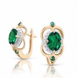 Серьги с изумрудами и бриллиантами из розового золота VALTERA 92644