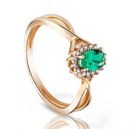 Кольцо с изумрудами и бриллиантами из розового золота VALTERA 96664
