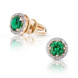 Серьги с изумрудами и бриллиантами из розового золота VALTERA 95196