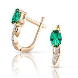 Серьги с изумрудами и бриллиантами из розового золота VALTERA 95192