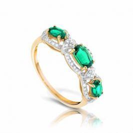 Кольцо с изумрудами и бриллиантами из желтого золота VALTERA 92619