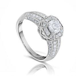 Кольцо с бриллиантами из белого золота 102850