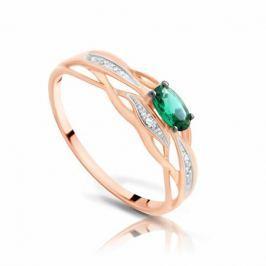 Кольцо с изумрудами и бриллиантами из розового золота 99407