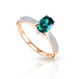 Кольцо с изумрудами и бриллиантами из розового золота 92840