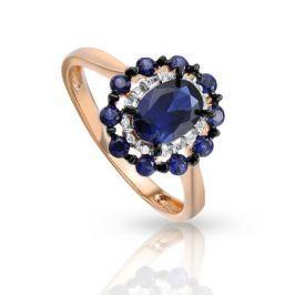 Кольцо с сапфирами и бриллиантами из розового золота 92861