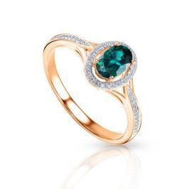 Кольцо с изумрудами и бриллиантами из розового золота 92843